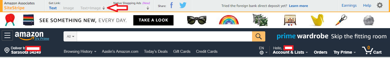 Amazon affiliate linking to homepage